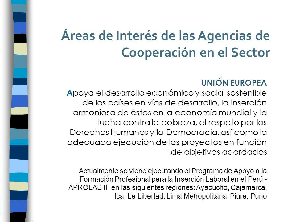 Áreas de Interés de las Agencias de Cooperación en el Sector UNIÓN EUROPEA A poya el desarrollo económico y social sostenible de los países en vías de desarrollo, la inserción armoniosa de éstos en la economía mundial y la lucha contra la pobreza, el respeto por los Derechos Humanos y la Democracia, así como la adecuada ejecución de los proyectos en función de objetivos acordados Actualmente se viene ejecutando el Programa de Apoyo a la Formación Profesional para la Inserción Laboral en el Perú - APROLAB II en las siguientes regiones: Ayacucho, Cajamarca, Ica, La Libertad, Lima Metropolitana, Piura, Puno