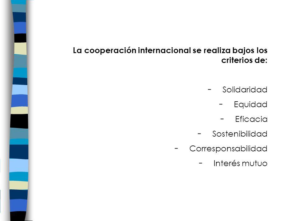 La cooperación internacional se realiza bajos los criterios de: - Solidaridad - Equidad - Eficacia - Sostenibilidad - Corresponsabilidad - Interés mutuo