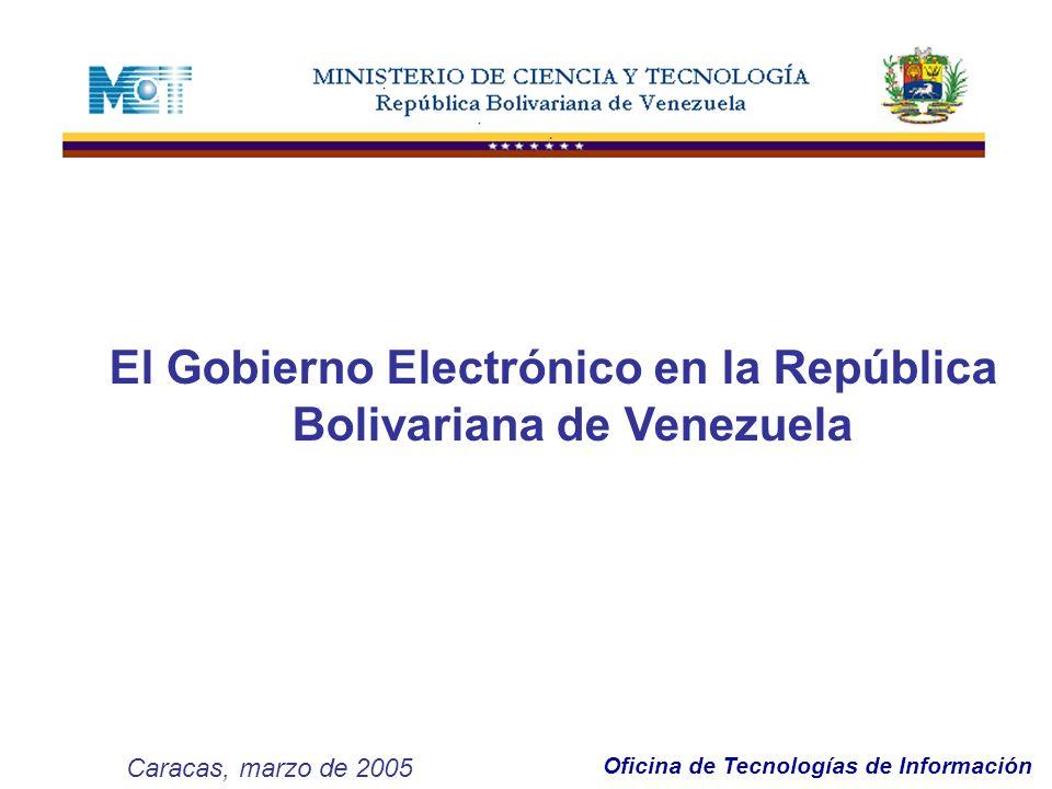 Oficina de Tecnologías de Información AGENDA: ANTECEDENTES EVOLUCIÓN EN AMÉRICA LATINA DEFINICIONES OFICIALES OBJETIVOS DEL GOBIERNO ELECTRÓNICO BENEFICIOS PLAN NACIONAL EN TIC POLÍTICA NACIONAL EN TIC...REALIDADES EN LA REPÚBLICA BOLIVARIANA DE VENEZUELA OBSTÁCULOS DESAFÍOS FACTORES DE ÉXITO Gobierno Electrónico