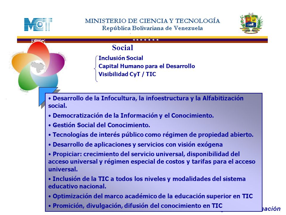 Oficina de Tecnologías de Información Social Inclusión Social Capital Humano para el Desarrollo Visibilidad CyT / TIC Desarrollo de la Infocultura, la