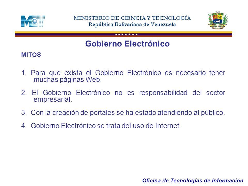 Oficina de Tecnologías de Información MITOS 1. Para que exista el Gobierno Electrónico es necesario tener muchas páginas Web. 2. El Gobierno Electróni