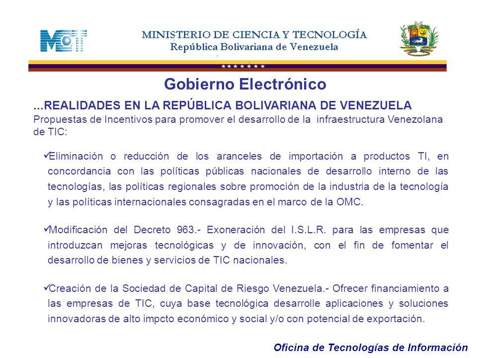 Oficina de Tecnologías de Información...REALIDADES EN LA REPÚBLICA BOLIVARIANA DE VENEZUELA Propuestas de Incentivos para promover el desarrollo de la