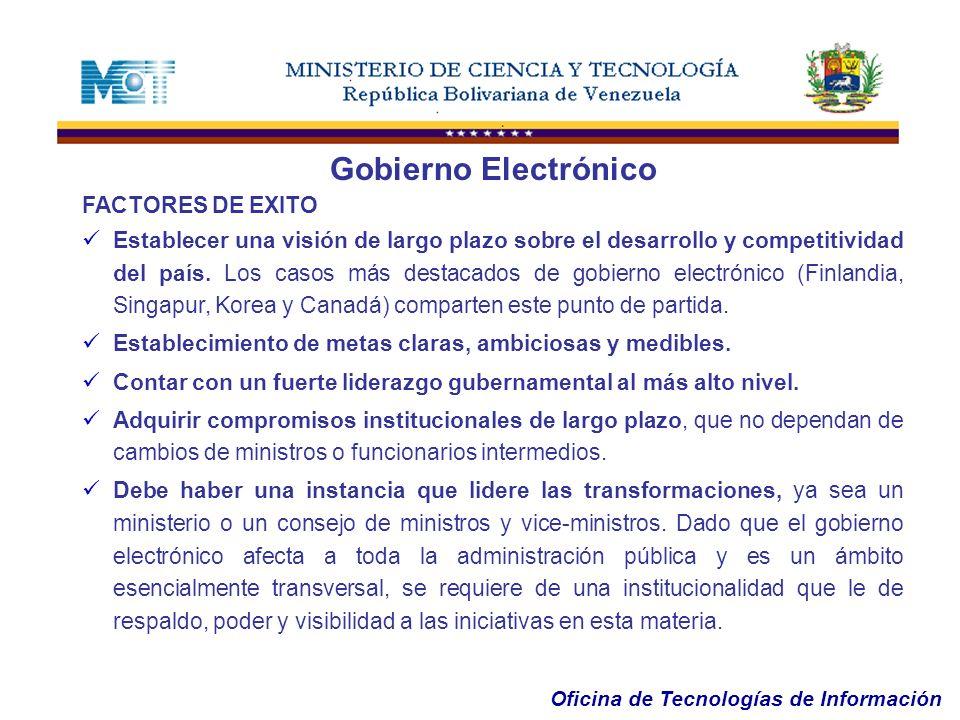 Oficina de Tecnologías de Información FACTORES DE EXITO Establecer una visión de largo plazo sobre el desarrollo y competitividad del país. Los casos