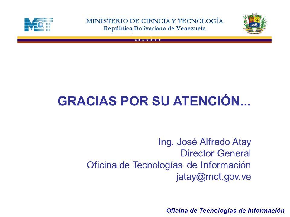 Oficina de Tecnologías de Información GRACIAS POR SU ATENCIÓN... Ing. José Alfredo Atay Director General Oficina de Tecnologías de Información jatay@m
