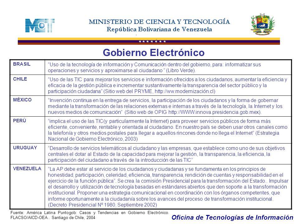 Oficina de Tecnologías de Información Gobierno Electrónico OBJETIVOS: a) Mejorar la rapidez y calidad de los servicios públicos al ciudadano: Sabemos que en nuestro país el ícono de la burocracia pública es la lentitud de los servicios del Estado.