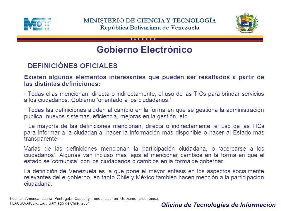 Oficina de Tecnologías de Información...REALIDADES EN LA REPÚBLICA BOLIVARIANA DE VENEZUELA Gobierno Electrónico Crecimiento en América Latina (en millones de usuarios de Internet) 19992005CRECIMIENTO VENEZUELA0,33,81.167 % BRASIL5,829,1402 % MEXICO1,312,7877 % ARGENTINA0,87,0775 % CHILE0,52,7440 % PERU0,42,4500 % COLOMBIA0,54,5780 % Fuente: Jupiter Communications