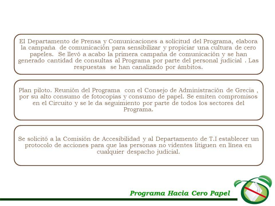 Programa Hacia Cero Papel El Departamento de Prensa y Comunicaciones a solicitud del Programa, elabora la campaña de comunicación para sensibilizar y