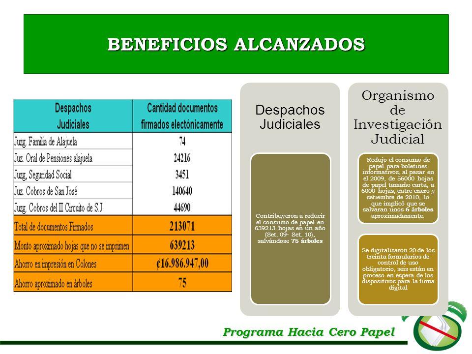 Programa Hacia Cero Papel BENEFICIOS ALCANZADOS Despachos Judiciales Contribuyeron a reducir el consumo de papel en 639213 hojas en un año (Set. 09- S