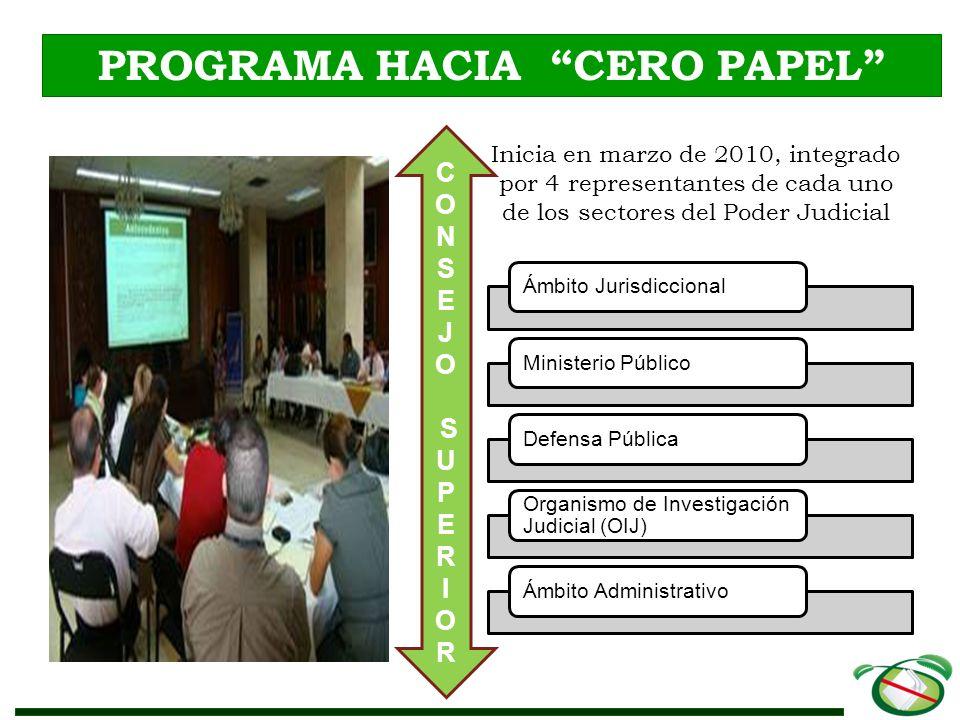 Programa Hacia Cero Papel BENEFICIOS ALCANZADOS Despachos Judiciales Contribuyeron a reducir el consumo de papel en 639213 hojas en un año (Set.