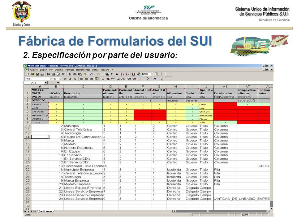 2. Especificación por parte del usuario: Fábrica de Formularios del SUI Oficina de Informatica