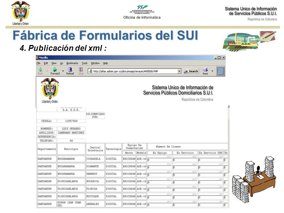 Fábrica de Formularios del SUI 4. Publicación del xml : Oficina de Informatica