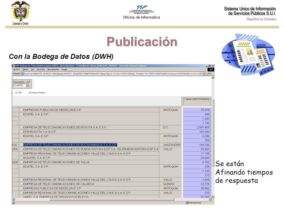 Publicación Con la Bodega de Datos (DWH) Se están Afinando tiempos de respuesta Oficina de Informatica