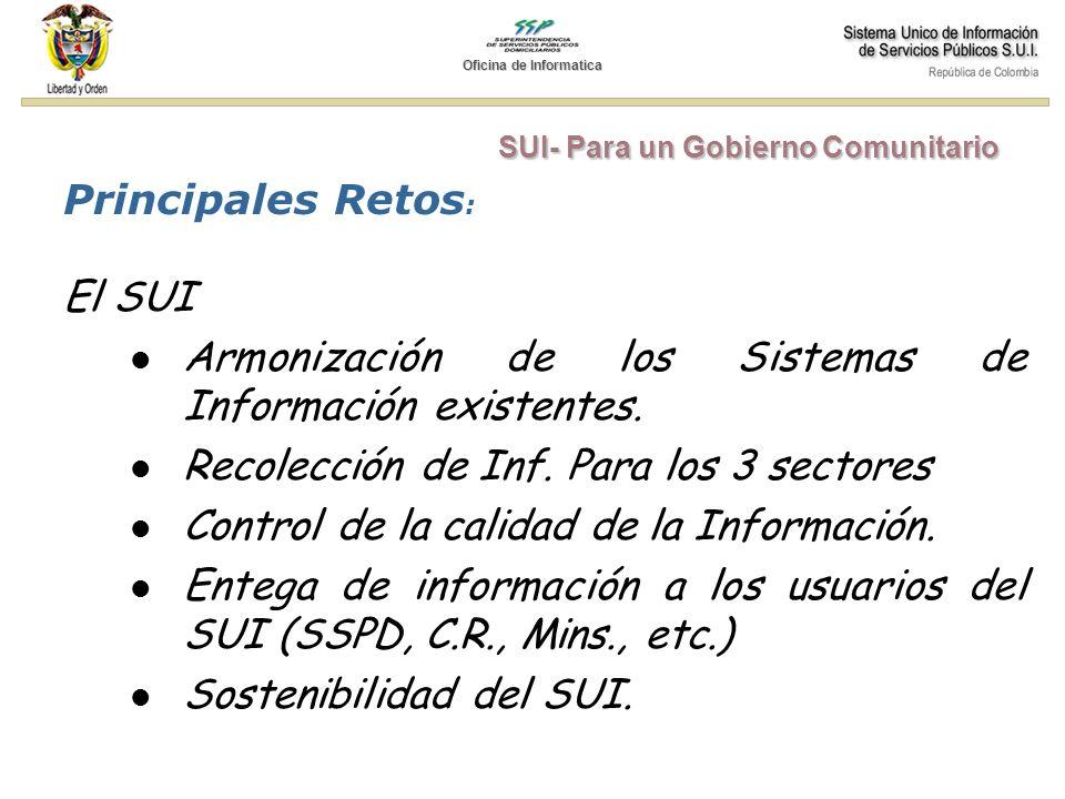 Principales Retos : El SUI Armonización de los Sistemas de Información existentes. Recolección de Inf. Para los 3 sectores Control de la calidad de la