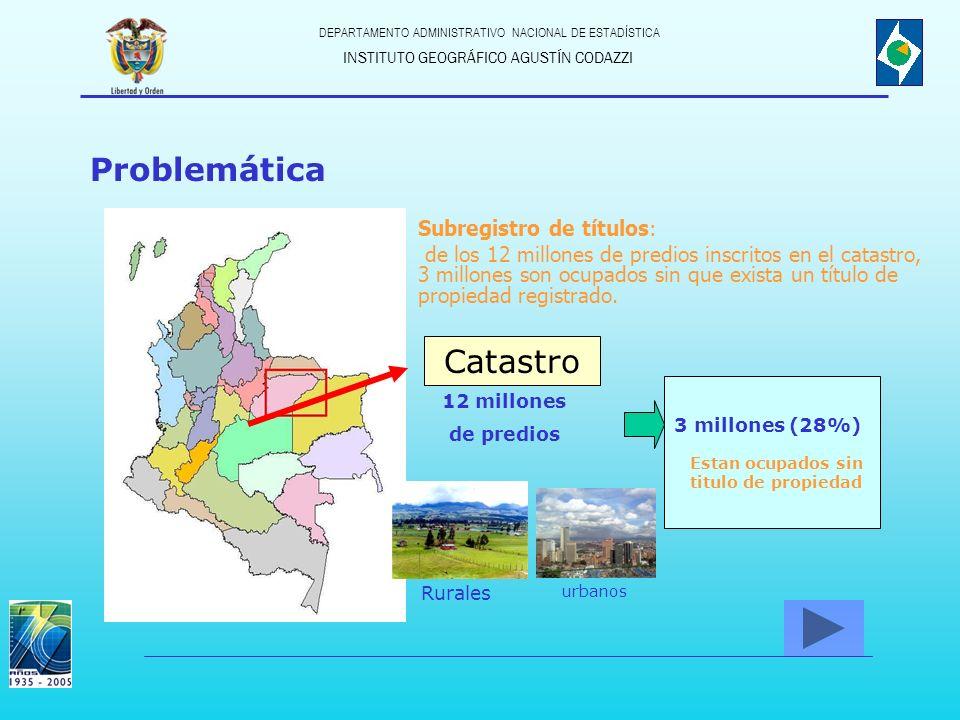 INSTITUTO GEOGRÁFICO AGUSTÍN CODAZZI DEPARTAMENTO ADMINISTRATIVO NACIONAL DE ESTADÍSTICA Problemática Catastro 12 millones de predios Rurales urbanos