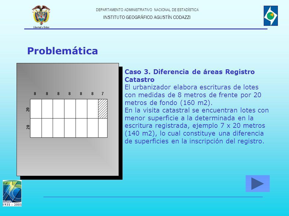 INSTITUTO GEOGRÁFICO AGUSTÍN CODAZZI DEPARTAMENTO ADMINISTRATIVO NACIONAL DE ESTADÍSTICA Problemática Caso 3. Diferencia de áreas Registro Catastro El