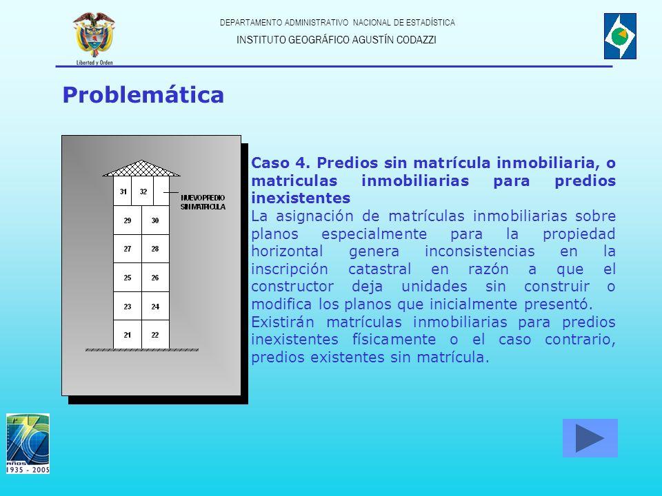 INSTITUTO GEOGRÁFICO AGUSTÍN CODAZZI DEPARTAMENTO ADMINISTRATIVO NACIONAL DE ESTADÍSTICA Problemática Caso 5.