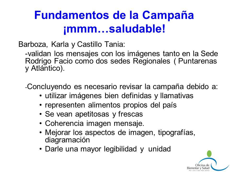 Barboza, Karla y Castillo Tania: -validan los mensajes con los imágenes tanto en la Sede Rodrigo Facio como dos sedes Regionales ( Puntarenas y Atlánt