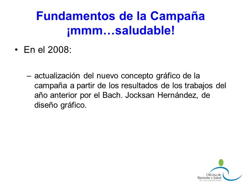 En el 2008: –actualización del nuevo concepto gráfico de la campaña a partir de los resultados de los trabajos del año anterior por el Bach. Jocksan H