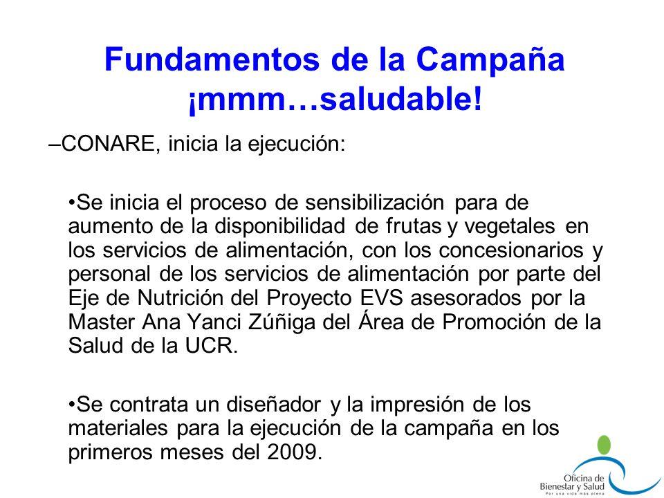 –CONARE, inicia la ejecución: Se inicia el proceso de sensibilización para de aumento de la disponibilidad de frutas y vegetales en los servicios de a