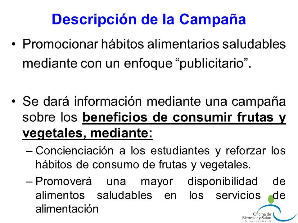 Descripción de la Campaña Promocionar hábitos alimentarios saludables mediante con un enfoque publicitario. Se dará información mediante una campaña s