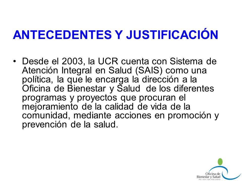 Desde el 2003, la UCR cuenta con Sistema de Atención Integral en Salud (SAIS) como una política, la que le encarga la dirección a la Oficina de Bienes