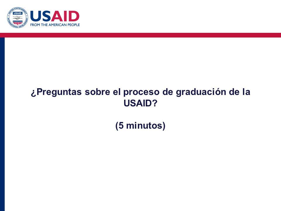 ¿Preguntas sobre el proceso de graduación de la USAID? (5 minutos)