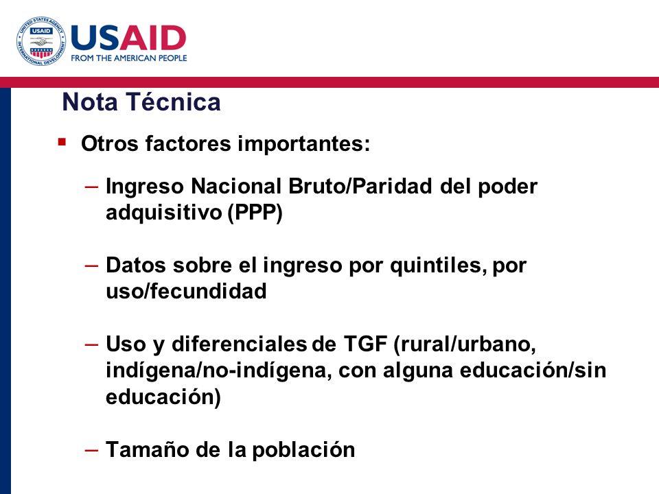 Nota Técnica Otros factores importantes: – Ingreso Nacional Bruto/Paridad del poder adquisitivo (PPP) – Datos sobre el ingreso por quintiles, por uso/