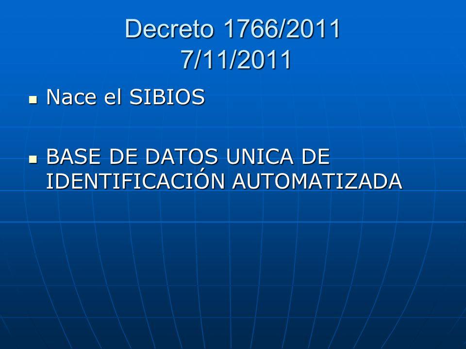 Decreto 1766/2011 7/11/2011 Nace el SIBIOS Nace el SIBIOS BASE DE DATOS UNICA DE IDENTIFICACIÓN AUTOMATIZADA BASE DE DATOS UNICA DE IDENTIFICACIÓN AUT