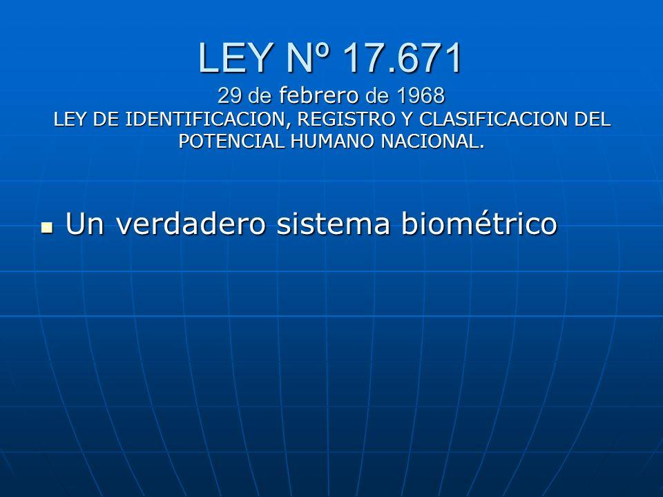 LEY Nº 17.671 29 de febrero de 1968 LEY DE IDENTIFICACION, REGISTRO Y CLASIFICACION DEL POTENCIAL HUMANO NACIONAL. Un verdadero sistema biométrico Un