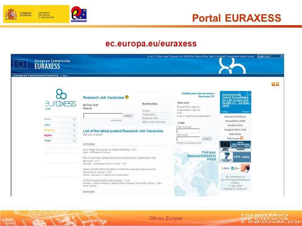 Oficina Europea Portal EURAXESS ec.europa.eu/euraxess