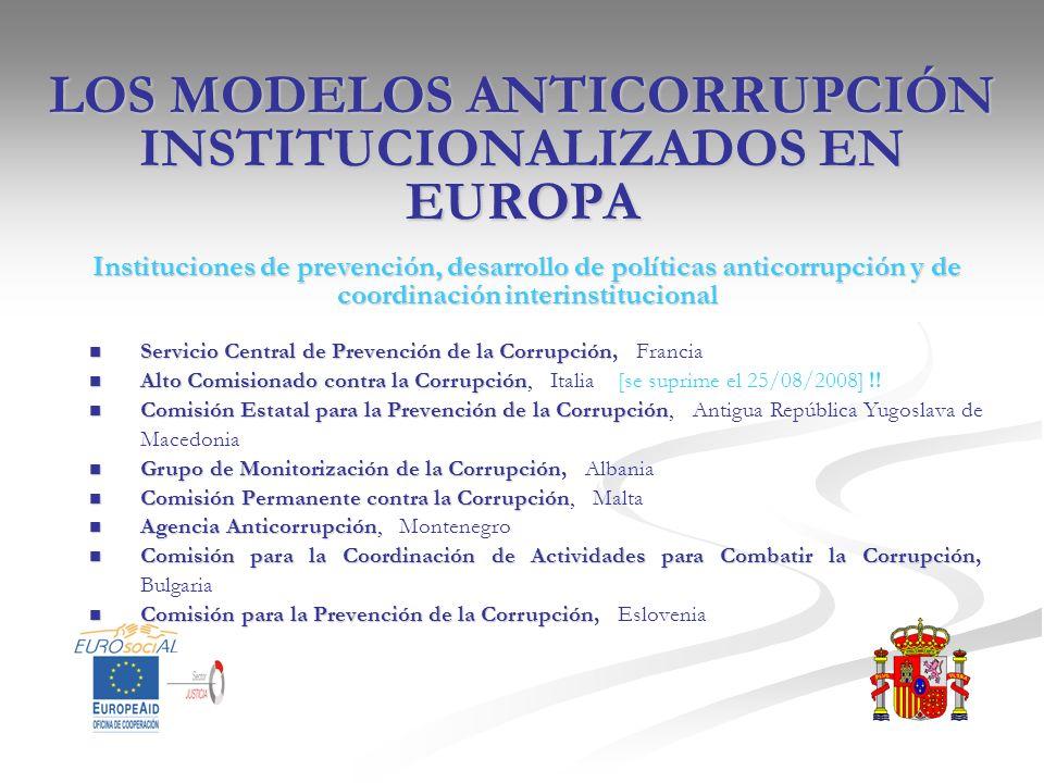 LOS MODELOS ANTICORRUPCIÓN INSTITUCIONALIZADOS EN EUROPA Instituciones de prevención, desarrollo de políticas anticorrupción y de coordinación interin