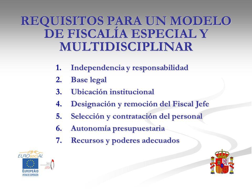 REQUISITOS PARA UN MODELO DE FISCALÍA ESPECIAL Y MULTIDISCIPLINAR 1.Independencia y responsabilidad 2.Base legal 3.Ubicación institucional 4.Designaci