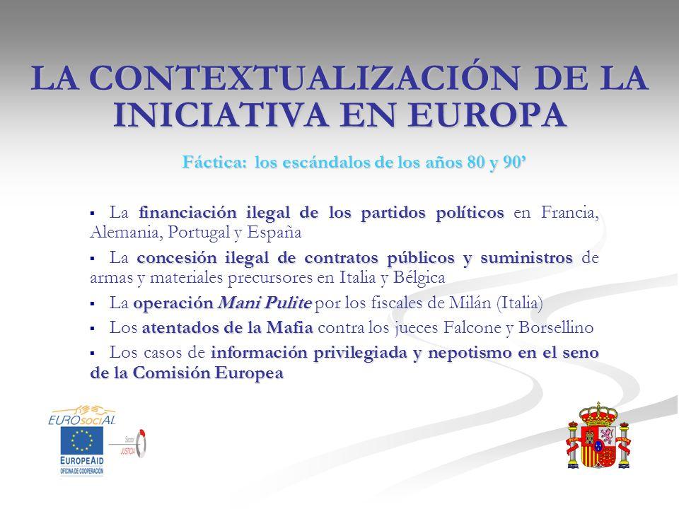 LA CONTEXTUALIZACIÓN DE LA INICIATIVA EN EUROPA Fáctica: los escándalos de los años 80 y 90 financiación ilegal de los partidos políticos La financiac