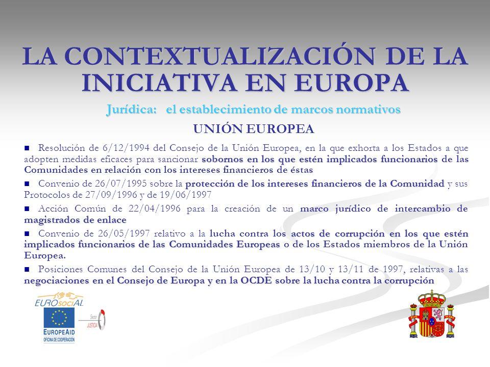 LA CONTEXTUALIZACIÓN DE LA INICIATIVA EN EUROPA Jurídica: el establecimiento de marcos normativos UNIÓN EUROPEA sobornos en los que estén implicados f