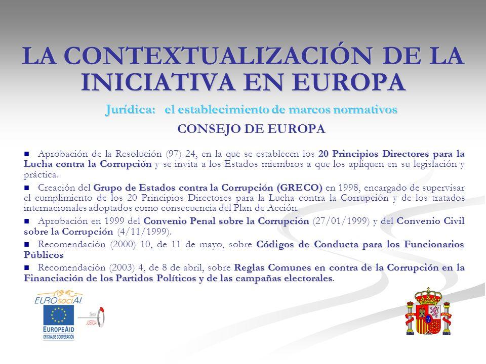 LA CONTEXTUALIZACIÓN DE LA INICIATIVA EN EUROPA Jurídica: el establecimiento de marcos normativos CONSEJO DE EUROPA 20 Principios Directores para la L