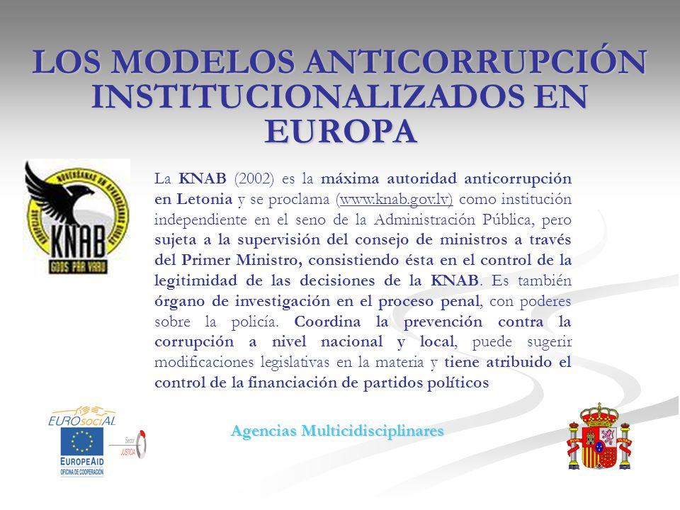 LOS MODELOS ANTICORRUPCIÓN INSTITUCIONALIZADOS EN EUROPA La KNAB (2002) es la máxima autoridad anticorrupción en Letonia y se proclama (www.knab.gov.l