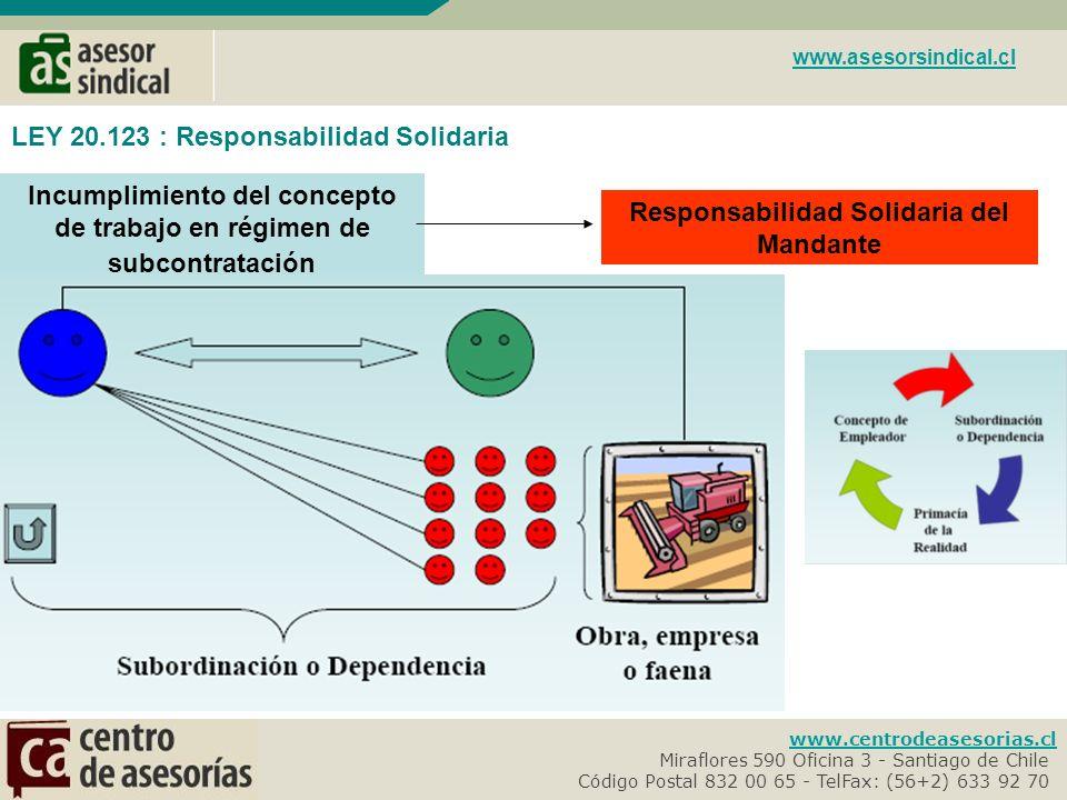 www.centrodeasesorias.cl Miraflores 590 Oficina 3 - Santiago de Chile- Código Postal 832 00 65 - TelFax: (56+2) 633 92 70- www.asesorsindical.cl LEY 20.123 : Suministro de Personal