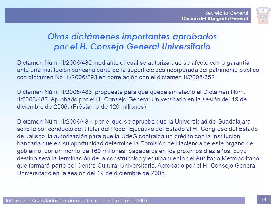 14 Secretaría General Oficina del Abogado General Informe de Actividades del periodo Enero a Diciembre de 2006 Dictamen Núm. II/2006/482 mediante el c