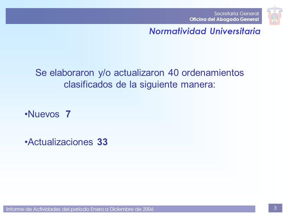 3 Secretaría General Oficina del Abogado General Informe de Actividades del periodo Enero a Diciembre de 2006 Normatividad Universitaria Se elaboraron
