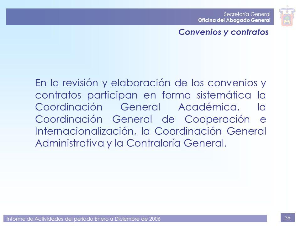 36 Secretaría General Oficina del Abogado General Informe de Actividades del periodo Enero a Diciembre de 2006 Convenios y contratos En la revisión y