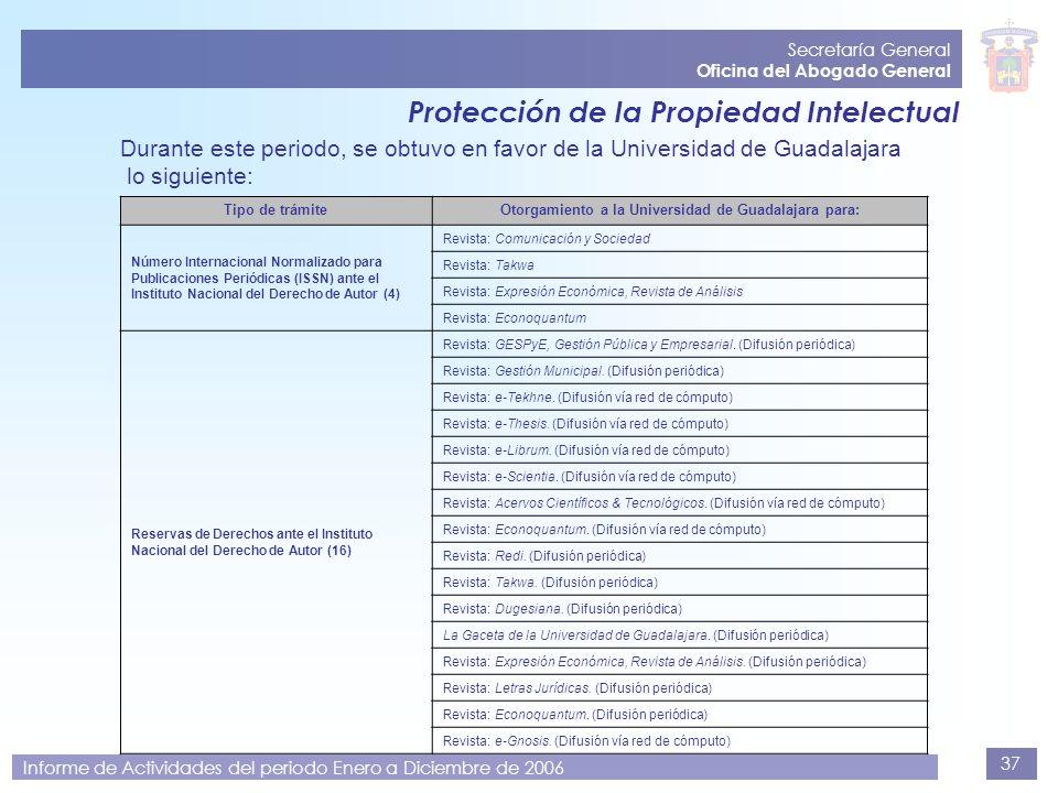 37 Secretaría General Oficina del Abogado General Informe de Actividades del periodo Enero a Diciembre de 2006 Protección de la Propiedad Intelectual