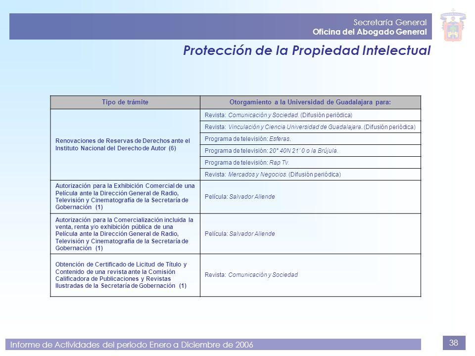 38 Secretaría General Oficina del Abogado General Informe de Actividades del periodo Enero a Diciembre de 2006 Protección de la Propiedad Intelectual
