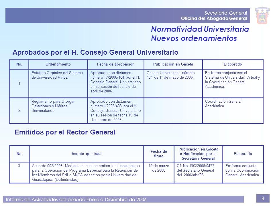 4 Secretaría General Oficina del Abogado General Informe de Actividades del periodo Enero a Diciembre de 2006 Normatividad Universitaria Nuevos ordena