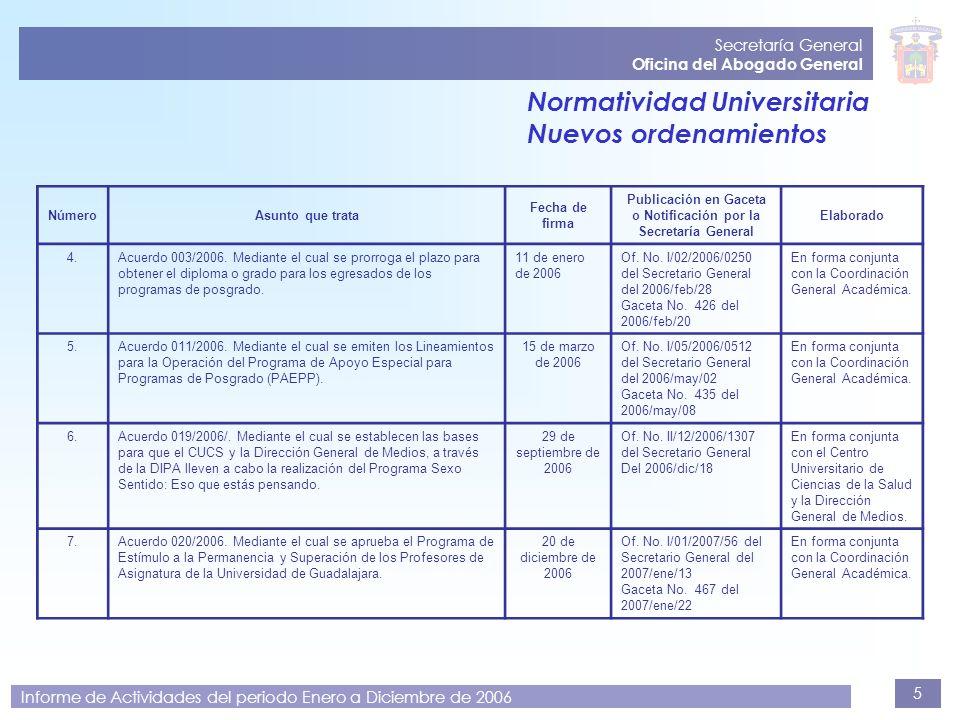 5 Secretaría General Oficina del Abogado General Informe de Actividades del periodo Enero a Diciembre de 2006 NúmeroAsunto que trata Fecha de firma Pu