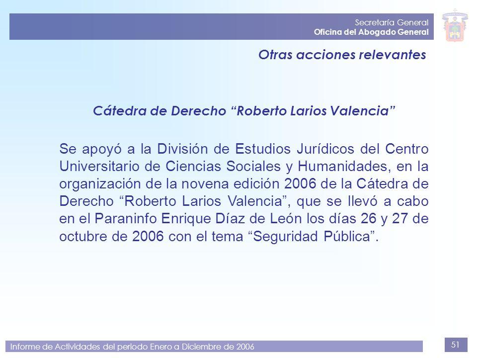 51 Secretaría General Oficina del Abogado General Informe de Actividades del periodo Enero a Diciembre de 2006 Otras acciones relevantes Cátedra de De