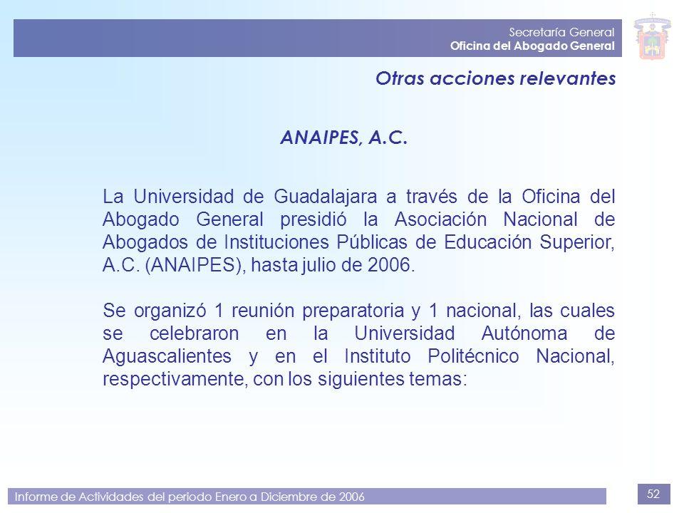 52 Secretaría General Oficina del Abogado General Informe de Actividades del periodo Enero a Diciembre de 2006 Otras acciones relevantes ANAIPES, A.C.