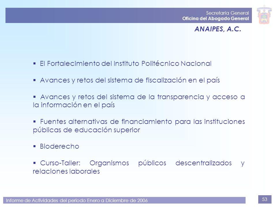 53 Secretaría General Oficina del Abogado General Informe de Actividades del periodo Enero a Diciembre de 2006 ANAIPES, A.C. El Fortalecimiento del In