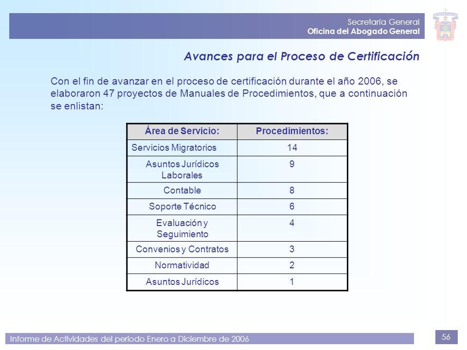 56 Secretaría General Oficina del Abogado General Informe de Actividades del periodo Enero a Diciembre de 2006 Avances para el Proceso de Certificació
