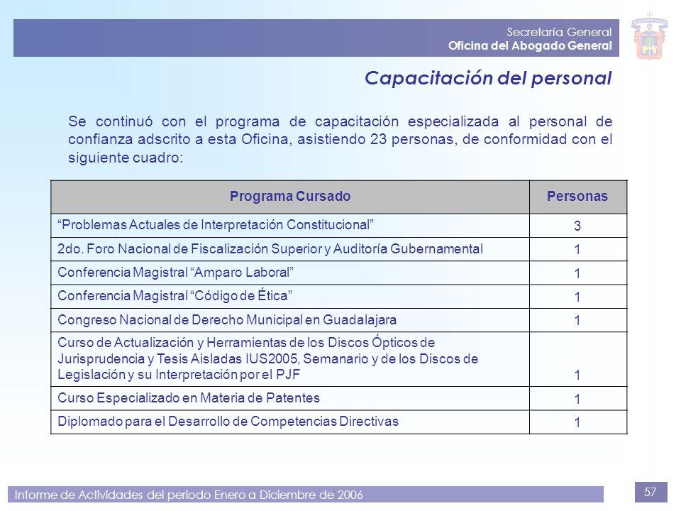 57 Secretaría General Oficina del Abogado General Informe de Actividades del periodo Enero a Diciembre de 2006 Capacitación del personal Se continuó c