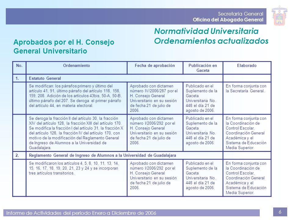 6 Secretaría General Oficina del Abogado General Informe de Actividades del periodo Enero a Diciembre de 2006 Aprobados por el H. Consejo General Univ